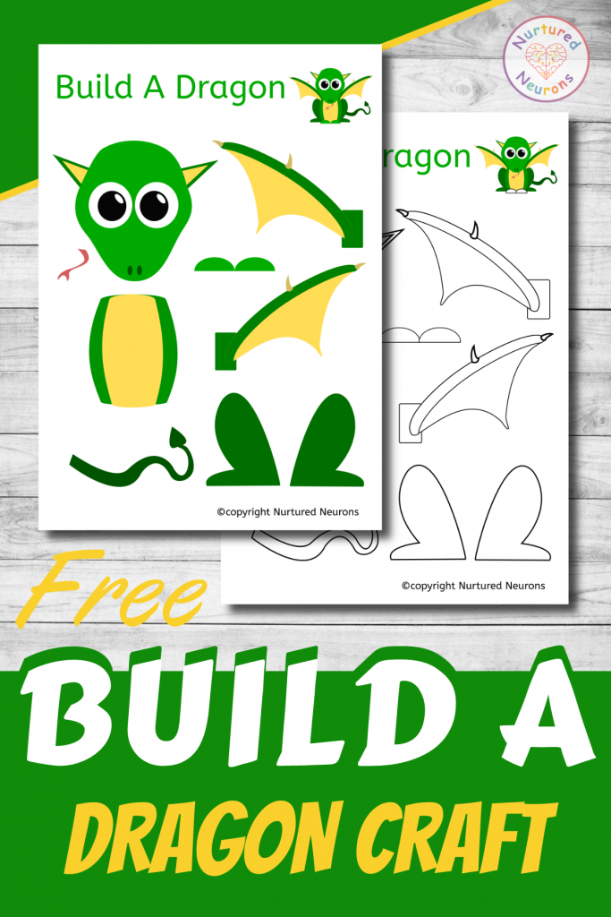 free printable Build A DRAGON CRAFT template for preschoolers and toddlers