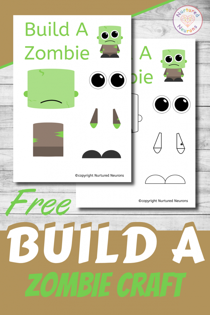 free printable Build A zombie CRAFT template - Halloween activity for preschoolers and toddlers
