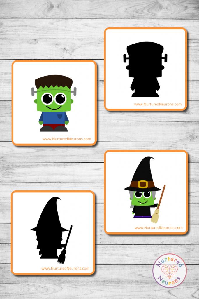 preschool Halloween shadow matching game (free printable)