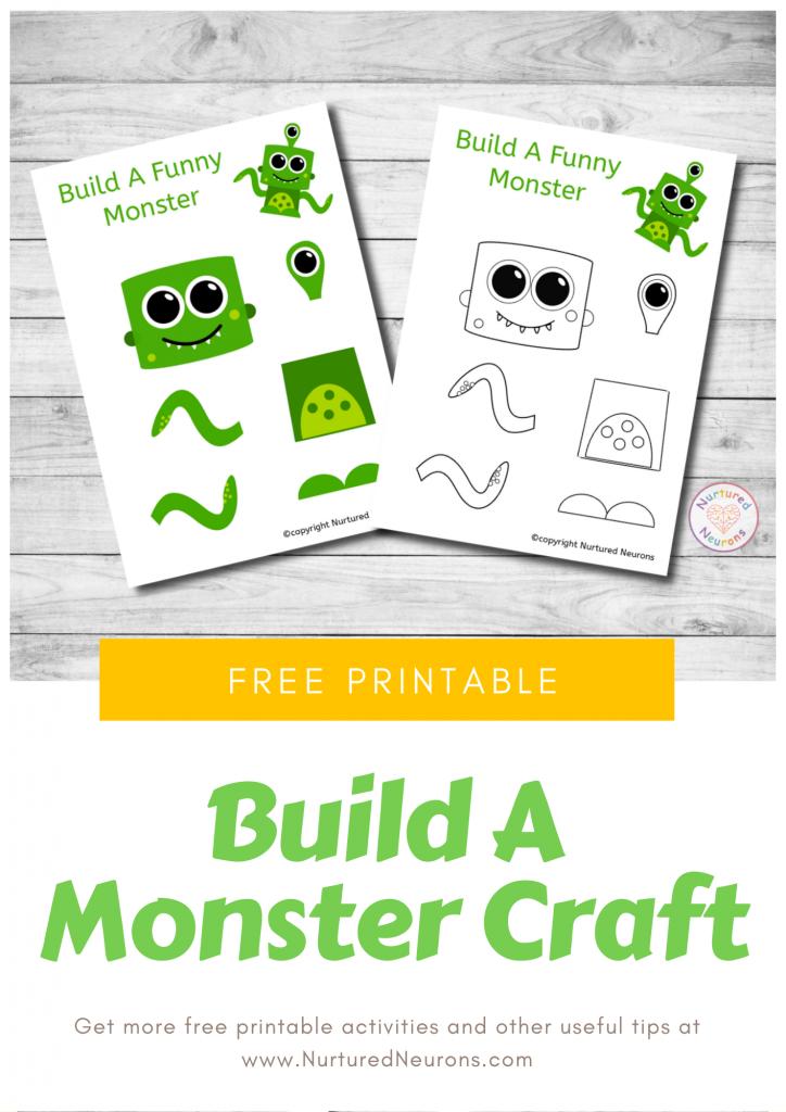 Make A Monster Craft free preschool Halloween printable template