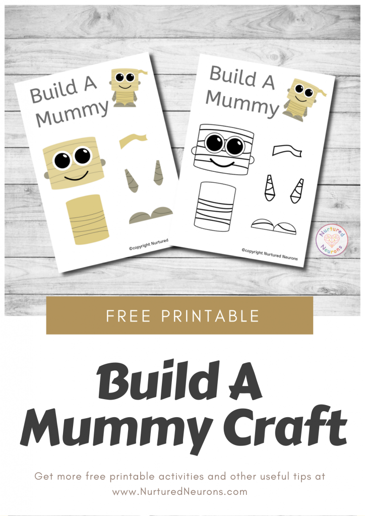 Build A Mummy Craft free preschool Halloween printable template