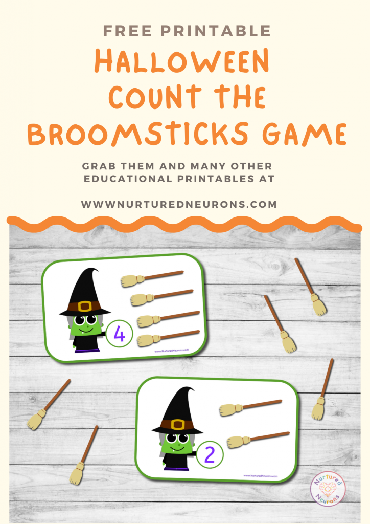 Witch math Game free preschool printable