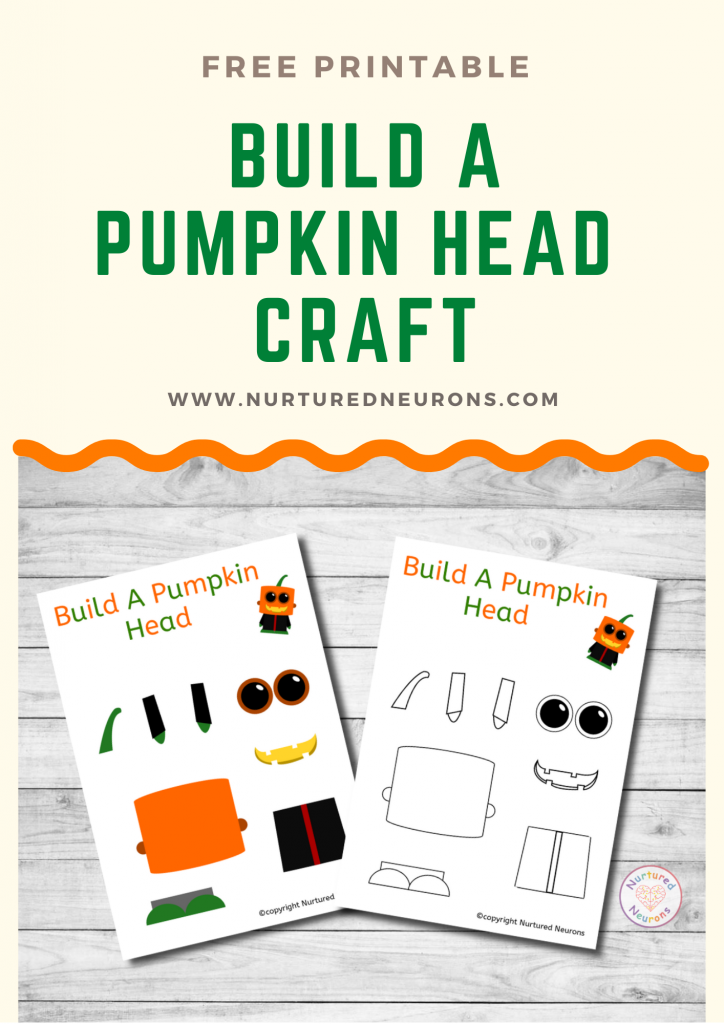 Build Pumpkin Head Craft free preschool Halloween printable template