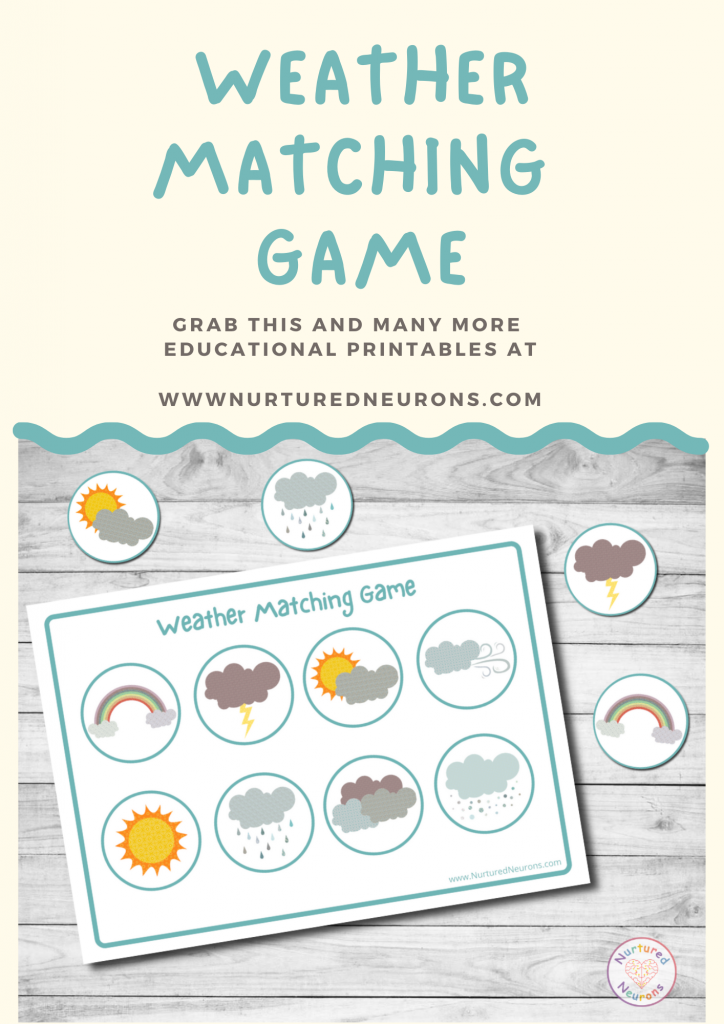 Printable weather preschool activity matching game