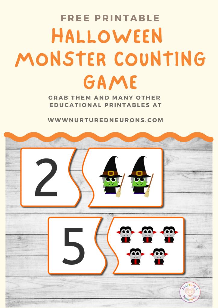 Halloween counting Game free preschool printable