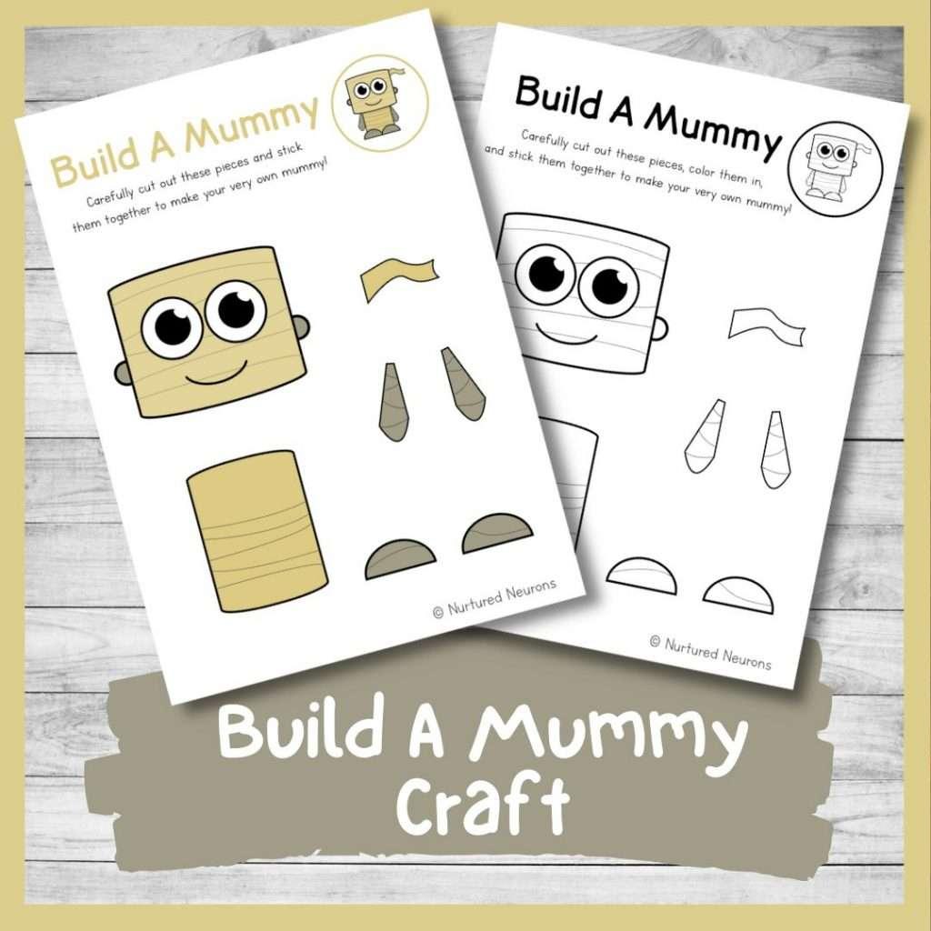 Build a mummy craft - Halloween activity for kids