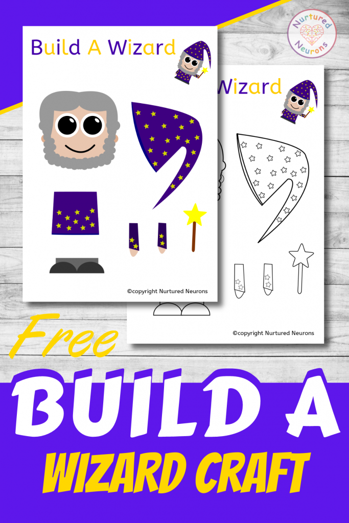 free printable Build A wizard CRAFT template for preschoolers and toddlers