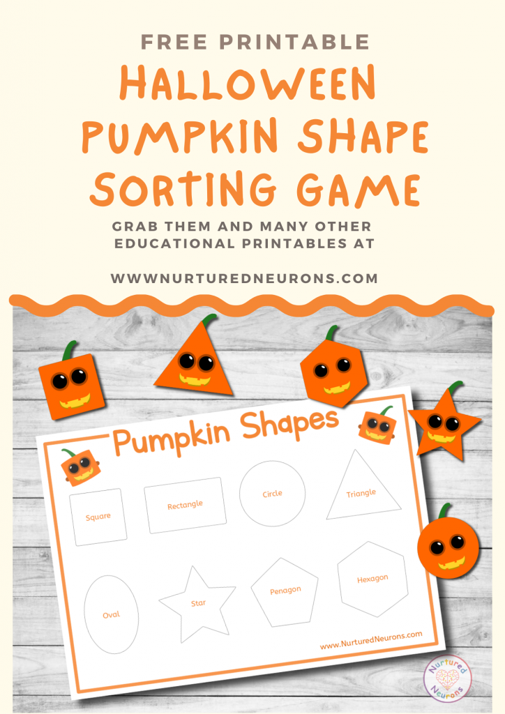 Halloween pumpkin shape sorting activity free preschool printable