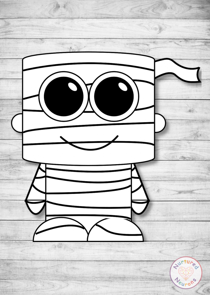 free Halloween printable make a mummy preschool craft