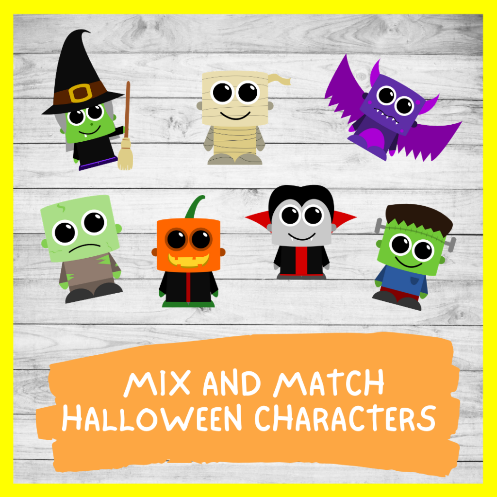 Printable MIX AND MATCH HALLOWEEN CHARACTERS