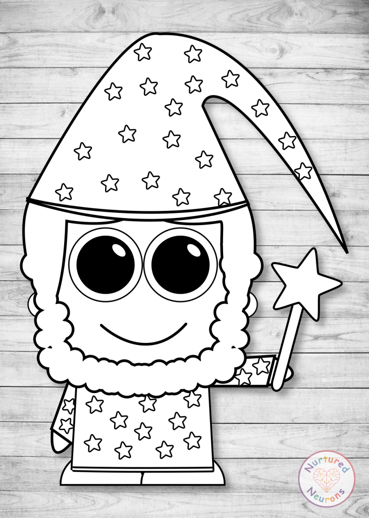 free printable Build A wizard craft templates for preschoolers and toddlers black and white