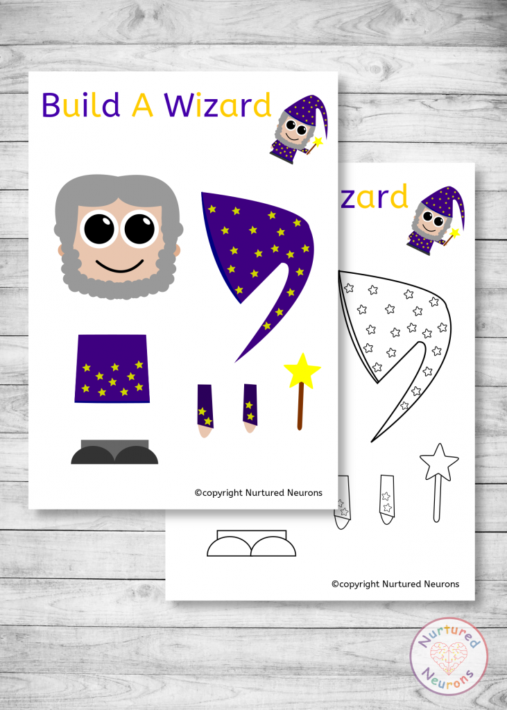 free printable Build A wizard craft templates for preschoolers and toddlers
