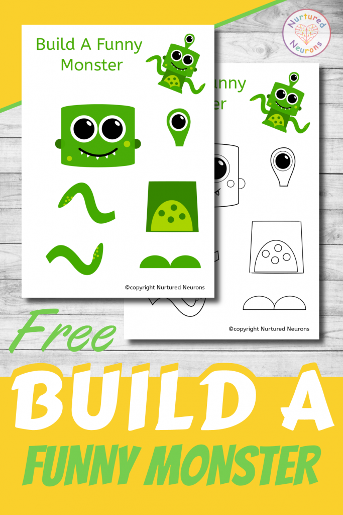 free printable Build A FUNNY MONSTER CRAFT template for preschoolers and toddlers