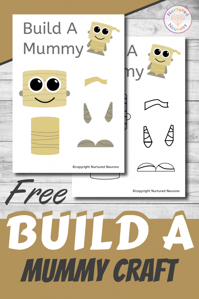 free printable Build A MUMMY CRAFT template for preschoolers and toddlers