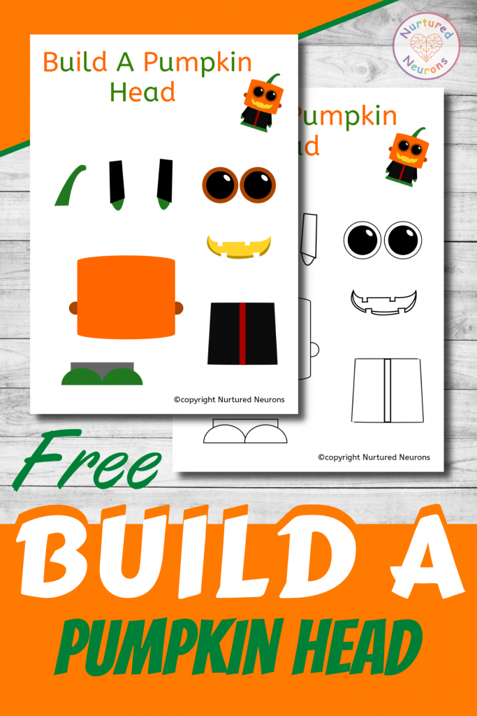 free printable Build A pumpkin head CRAFT template for preschoolers and toddlers