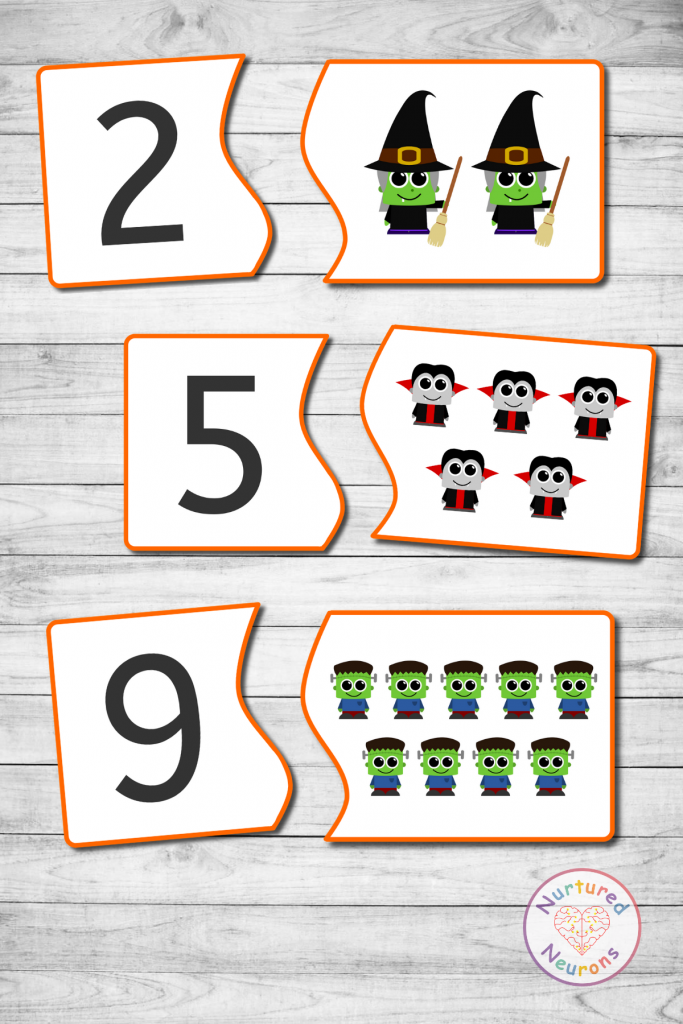 preschool Halloween COUNTING GAME - CUTE MONSTER MATCH (2)