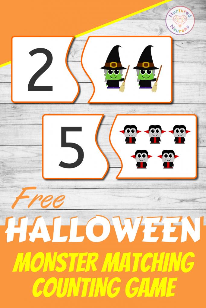 preschool Halloween COUNTING GAME - CUTE MONSTER MATCH