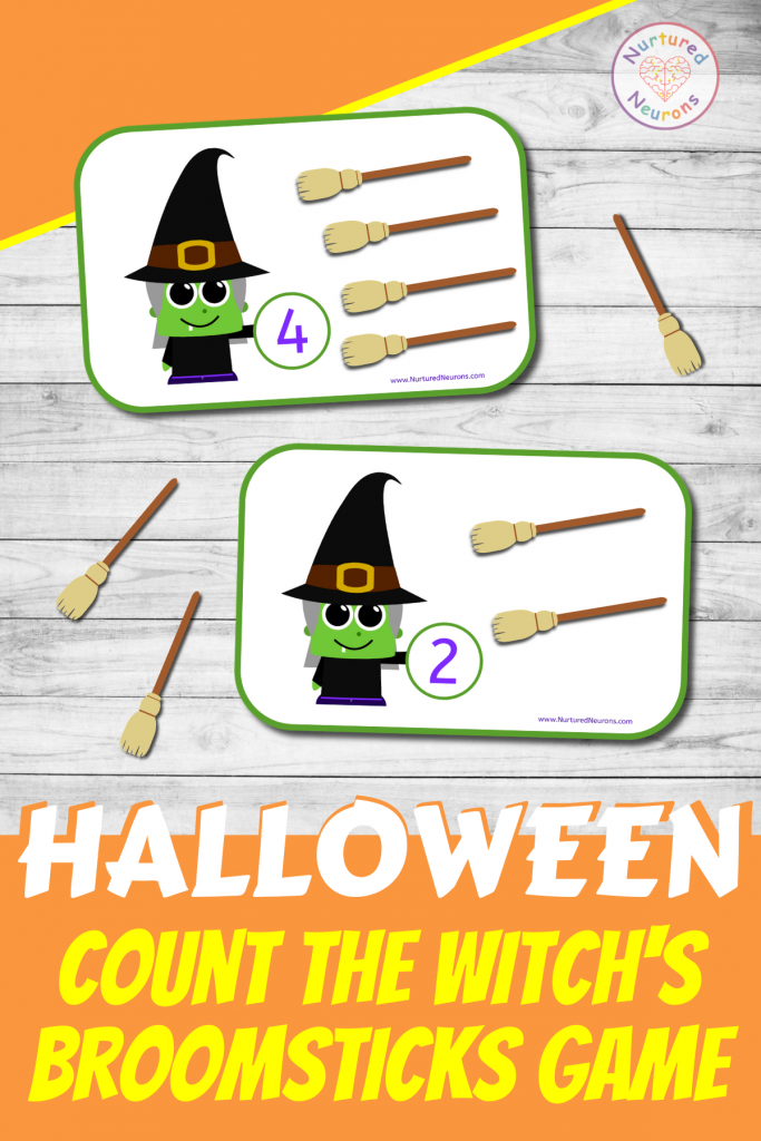 preschool printable witch math GAME - count the witch's broomsticks