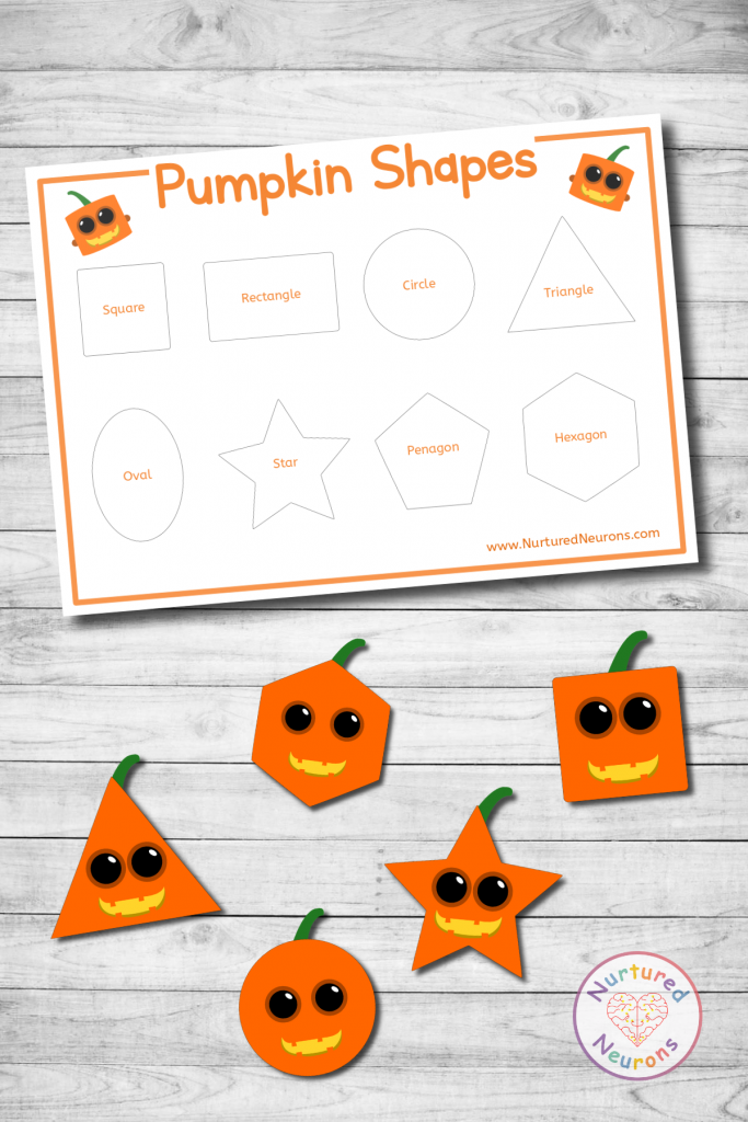 preschool printable Pumpkin Shape Sorting Activity Halloween game