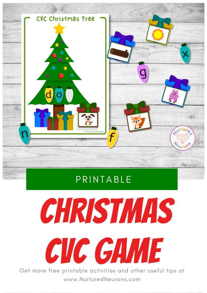 Christmas Phonics game - cvc word printable