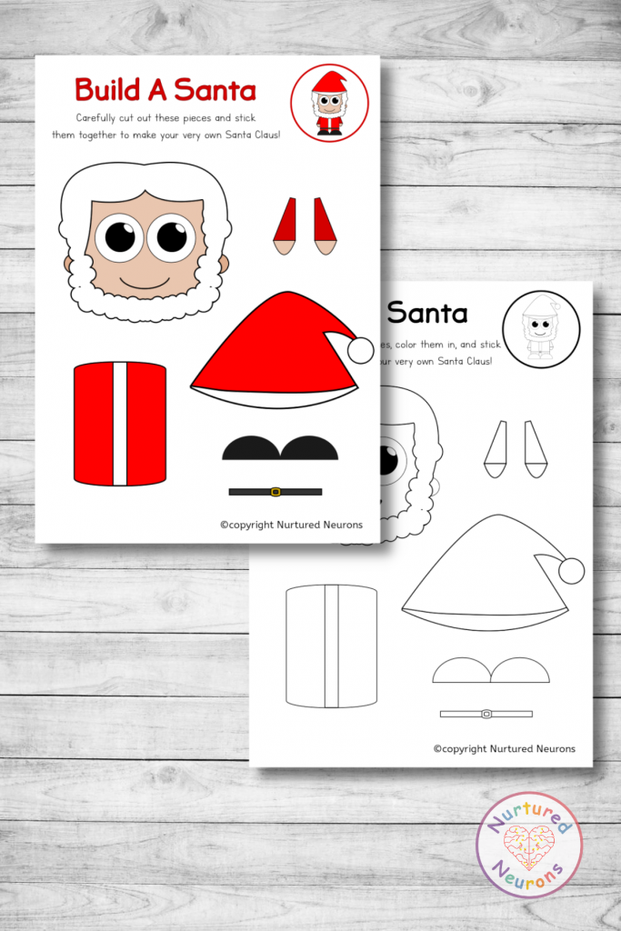 printable Santa template (free preschool download)