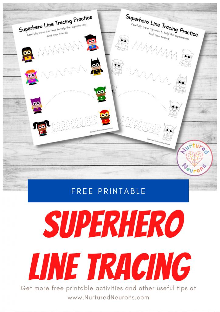 preschool SUPERHERO LINE tracing sheets (free printable)