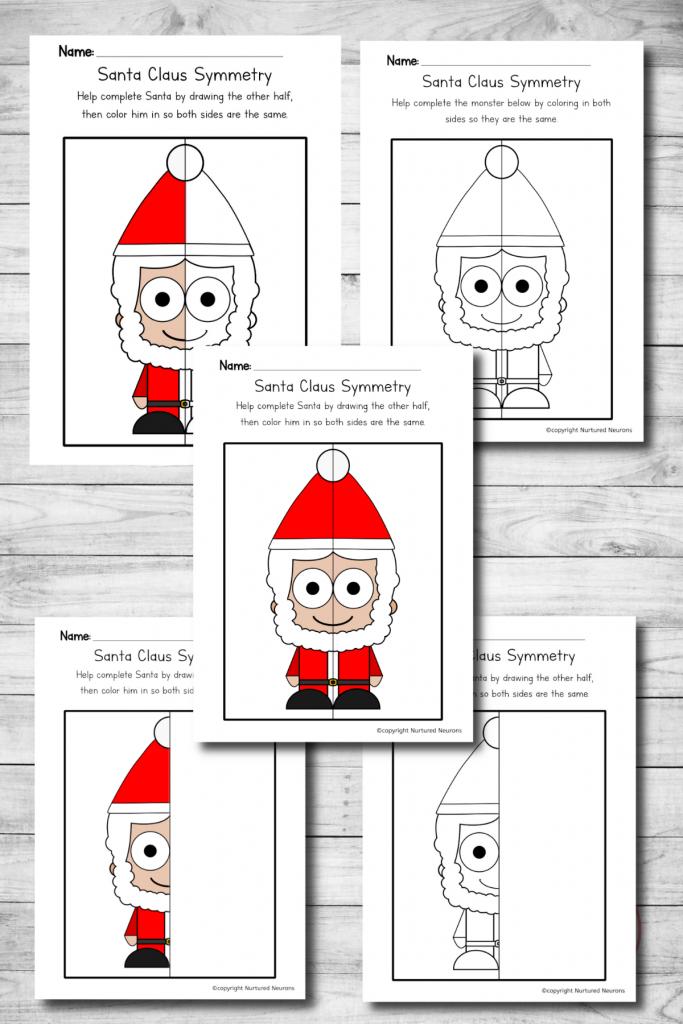 Santa symmetry worksheets - printable Christmas symmetry sheets