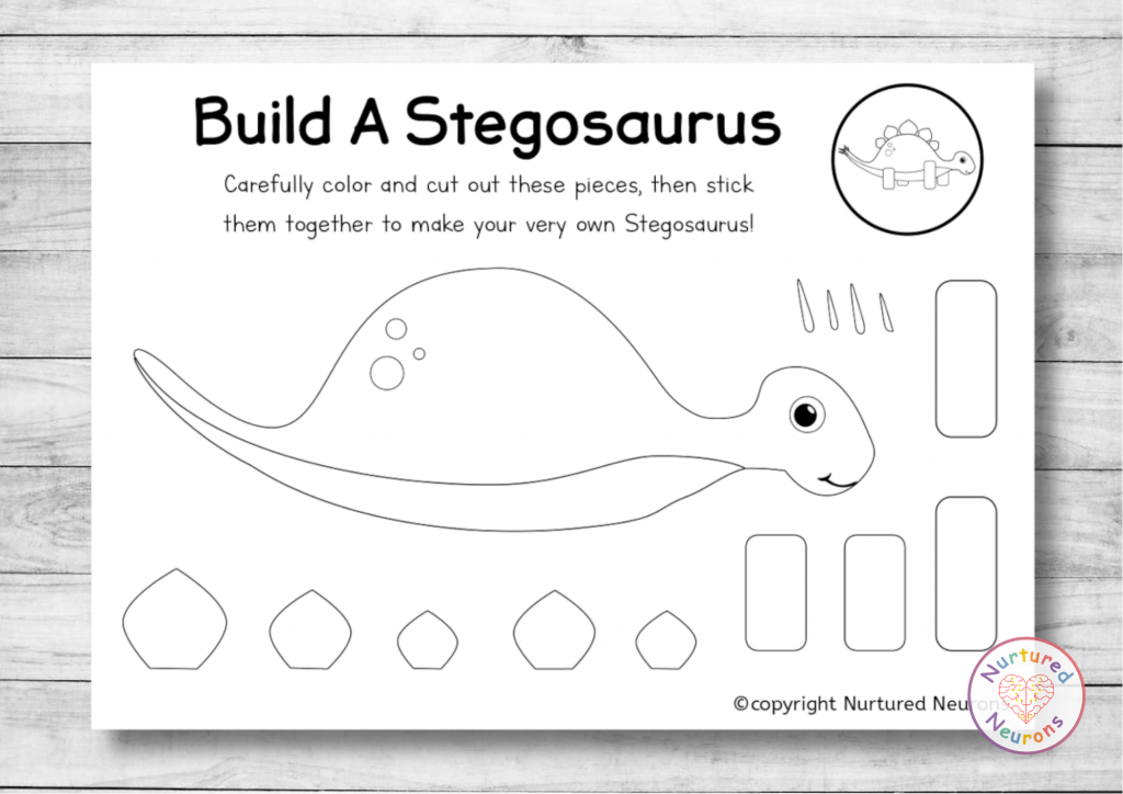 build a Stegosaurus - printable preschool dinosaur craft