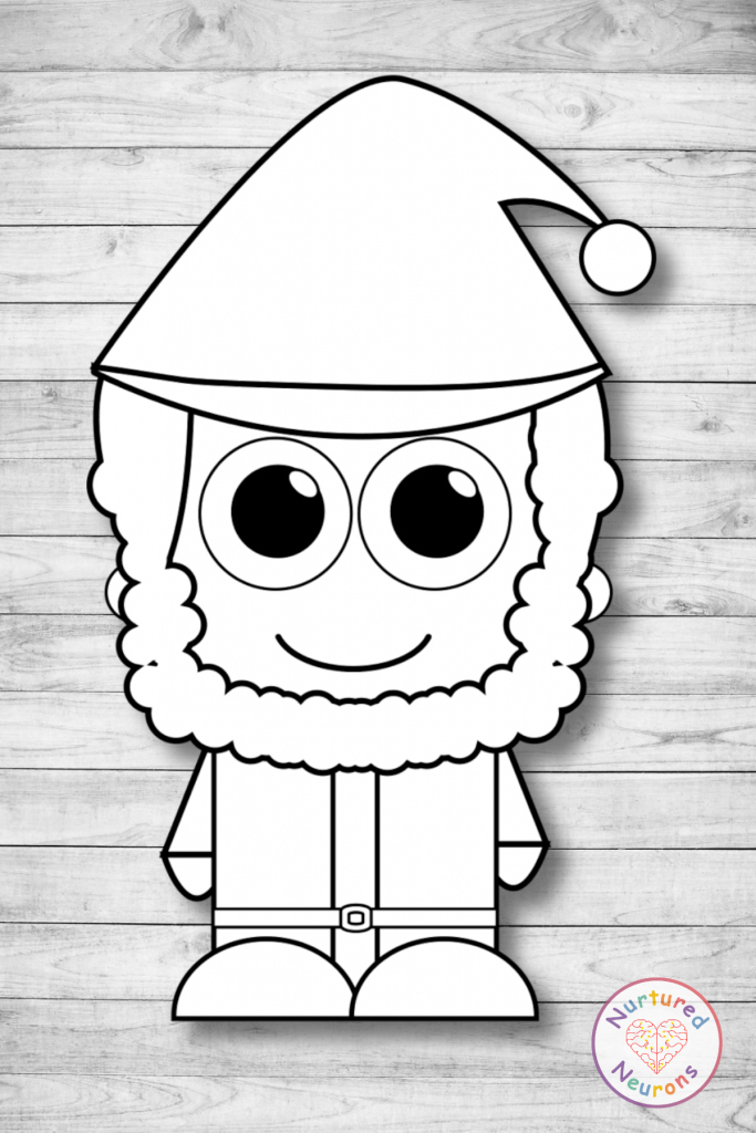 build a Santa craft printable for preschool and toddlers plain coloring