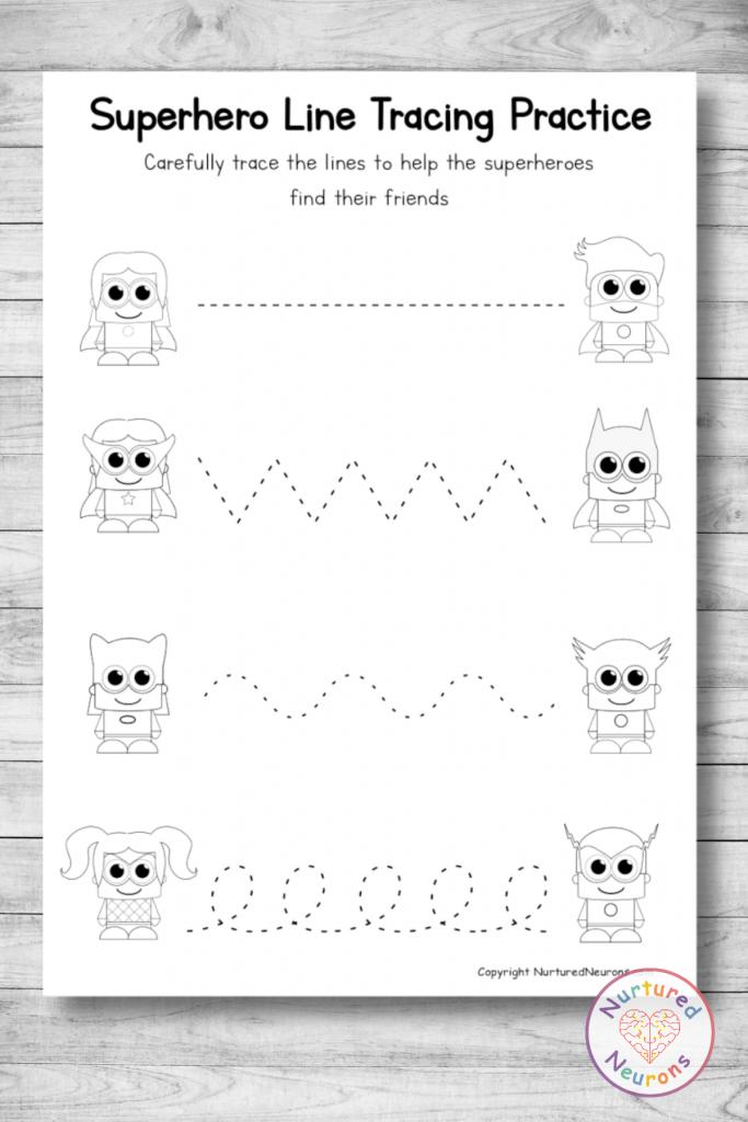 Free printable SUPERHERO Line tracing worksheets preschool toddlers