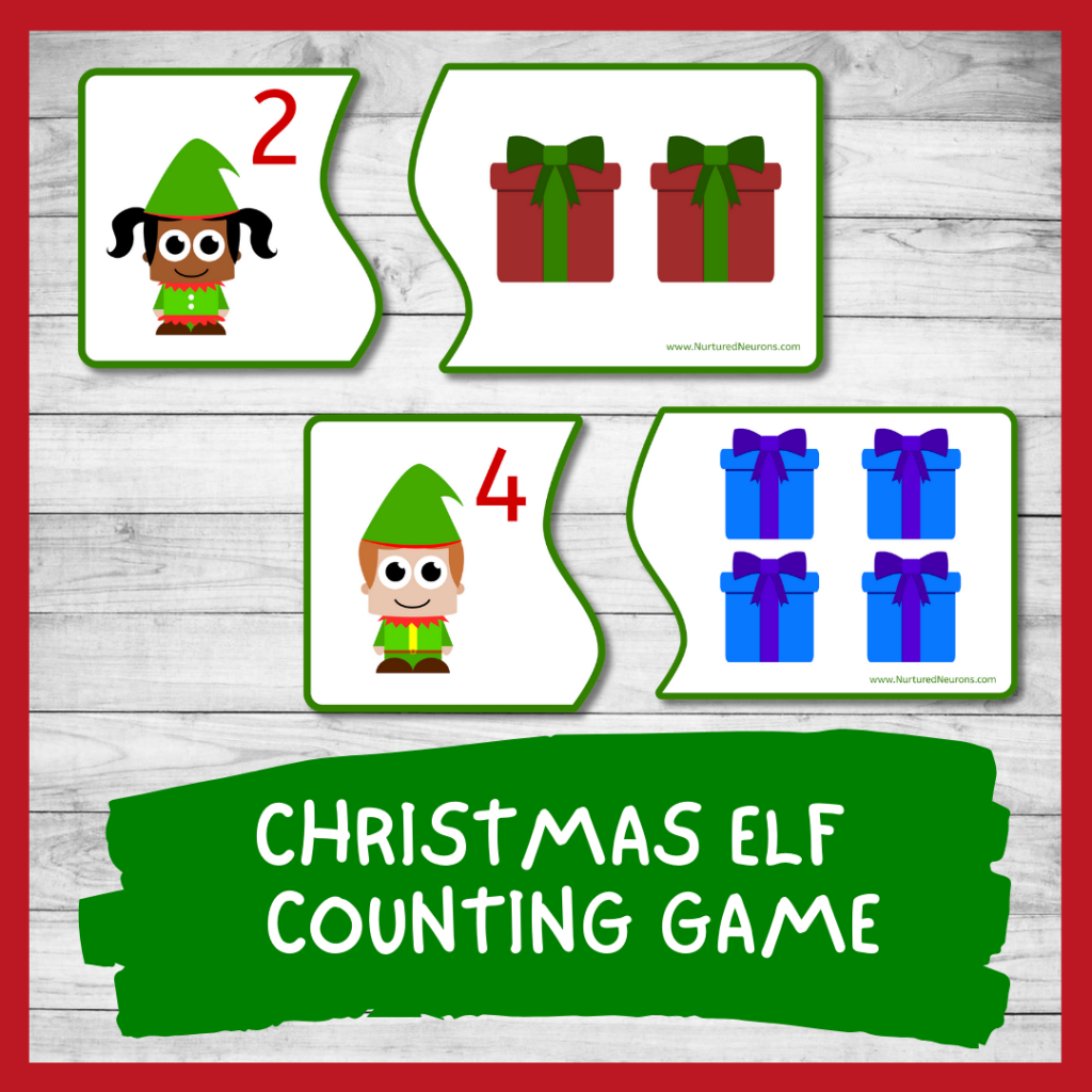 Christmas Elf Counting GAME FOR TODDLERS AND PRESCHOOL (PRINTABLE)