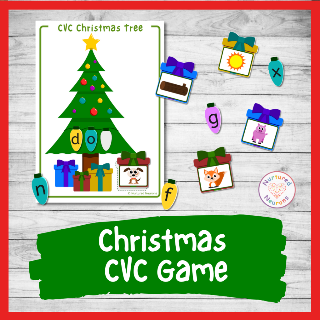 Christmas phonics game for kindergarten – printable CVC words