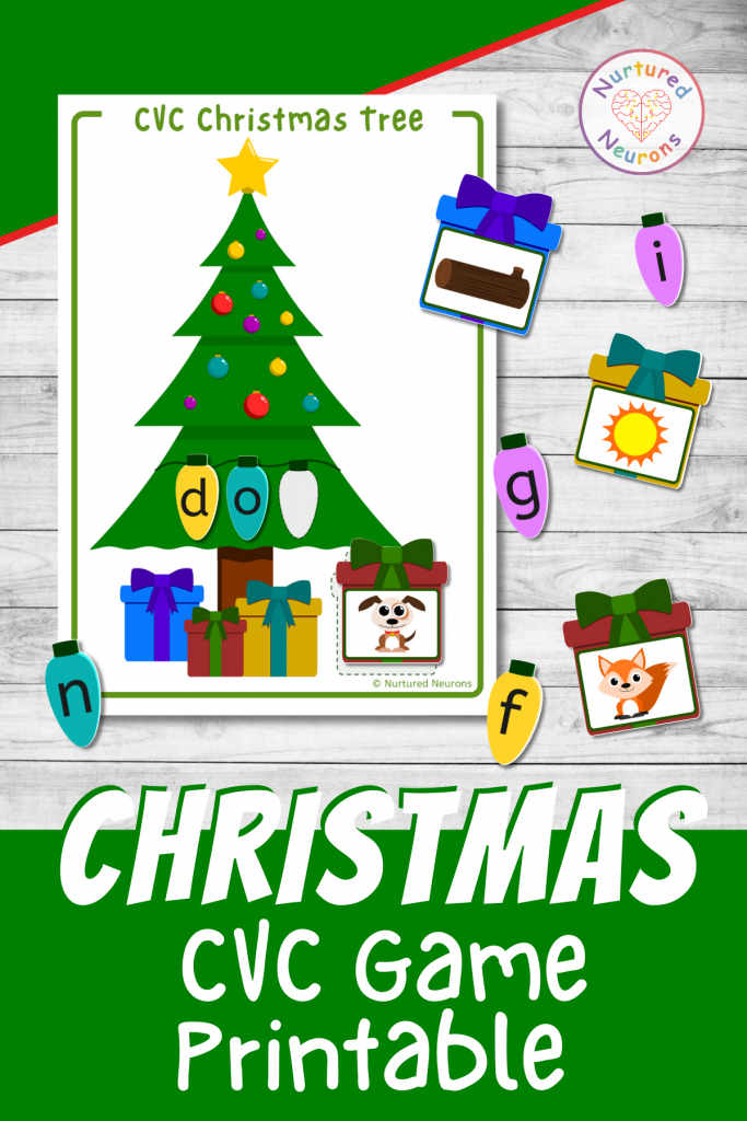 Christmas phonics game - printable CVC words with pictures