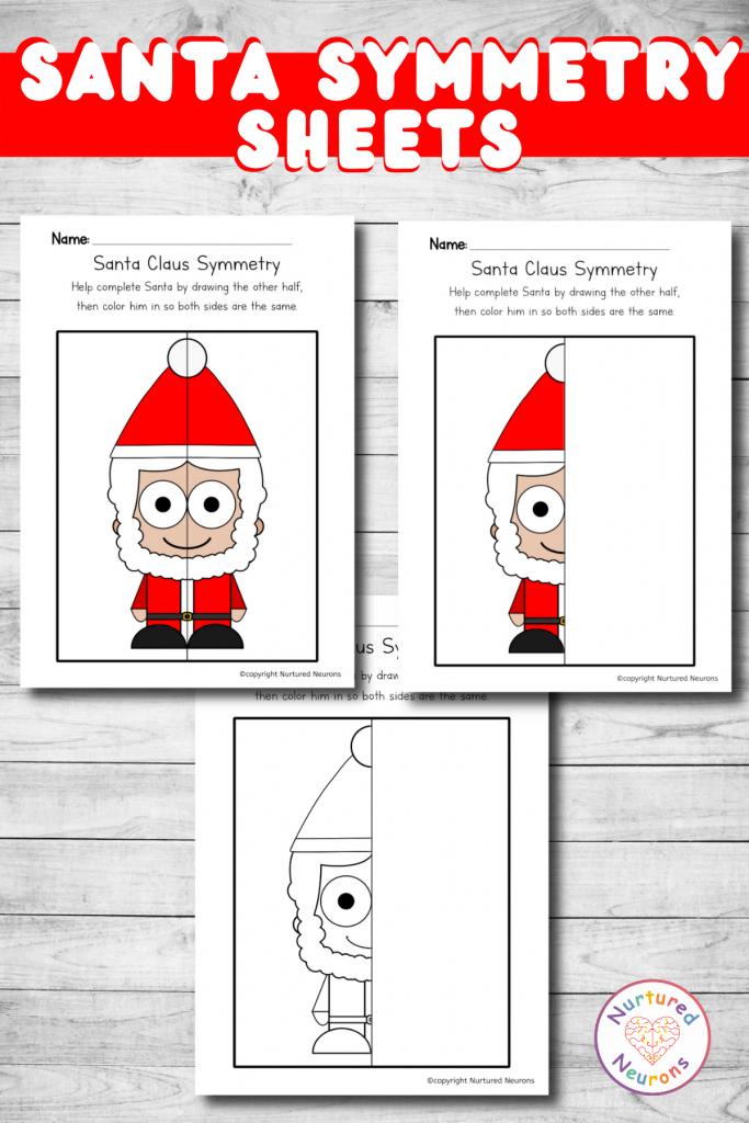 Christmas symmetry worksheets - printable symmetry sheets