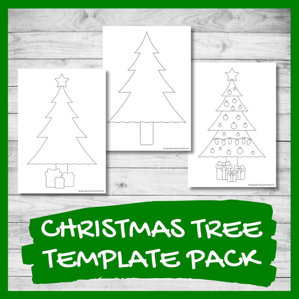 Christmas tree outline printable template for crafts and coloring pages