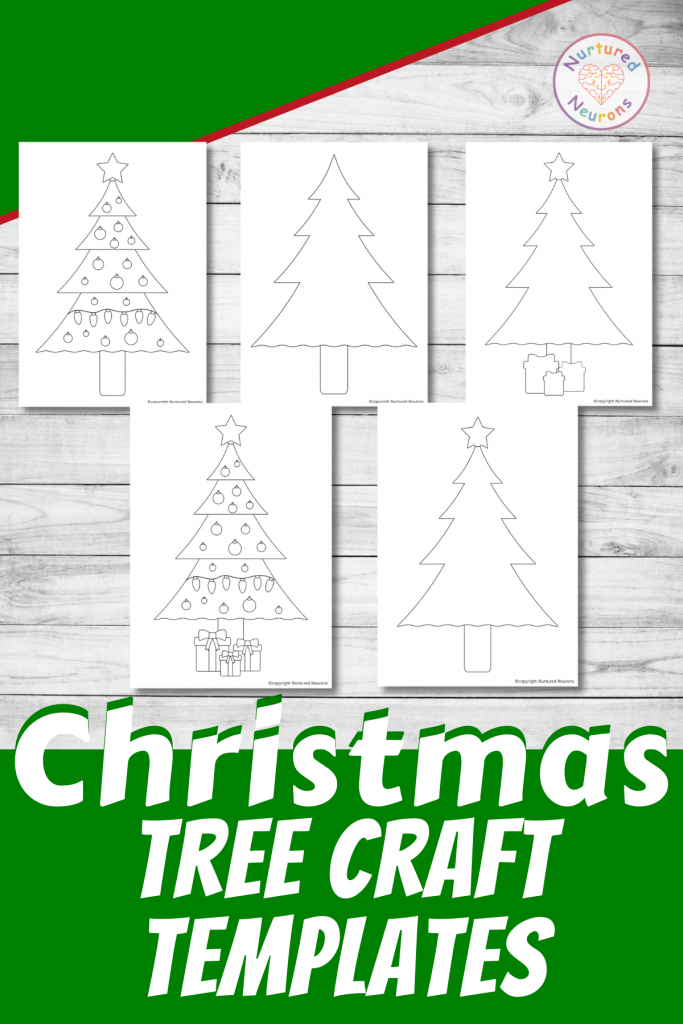 Christmas tree outline printable template for preschool crafts and christmas tree coloring pages