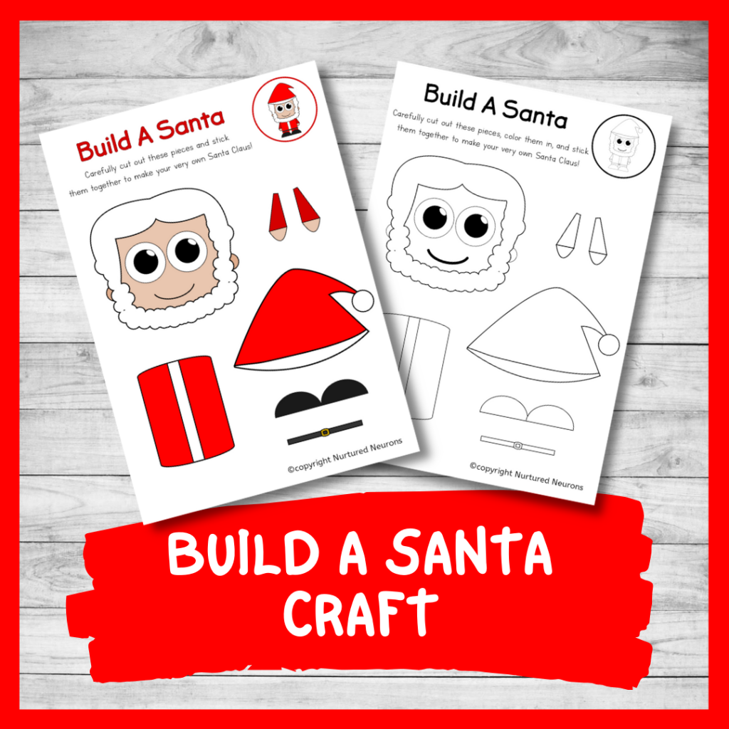 FREE PRINTABLE BUILD A Santa CRAFT for preschool