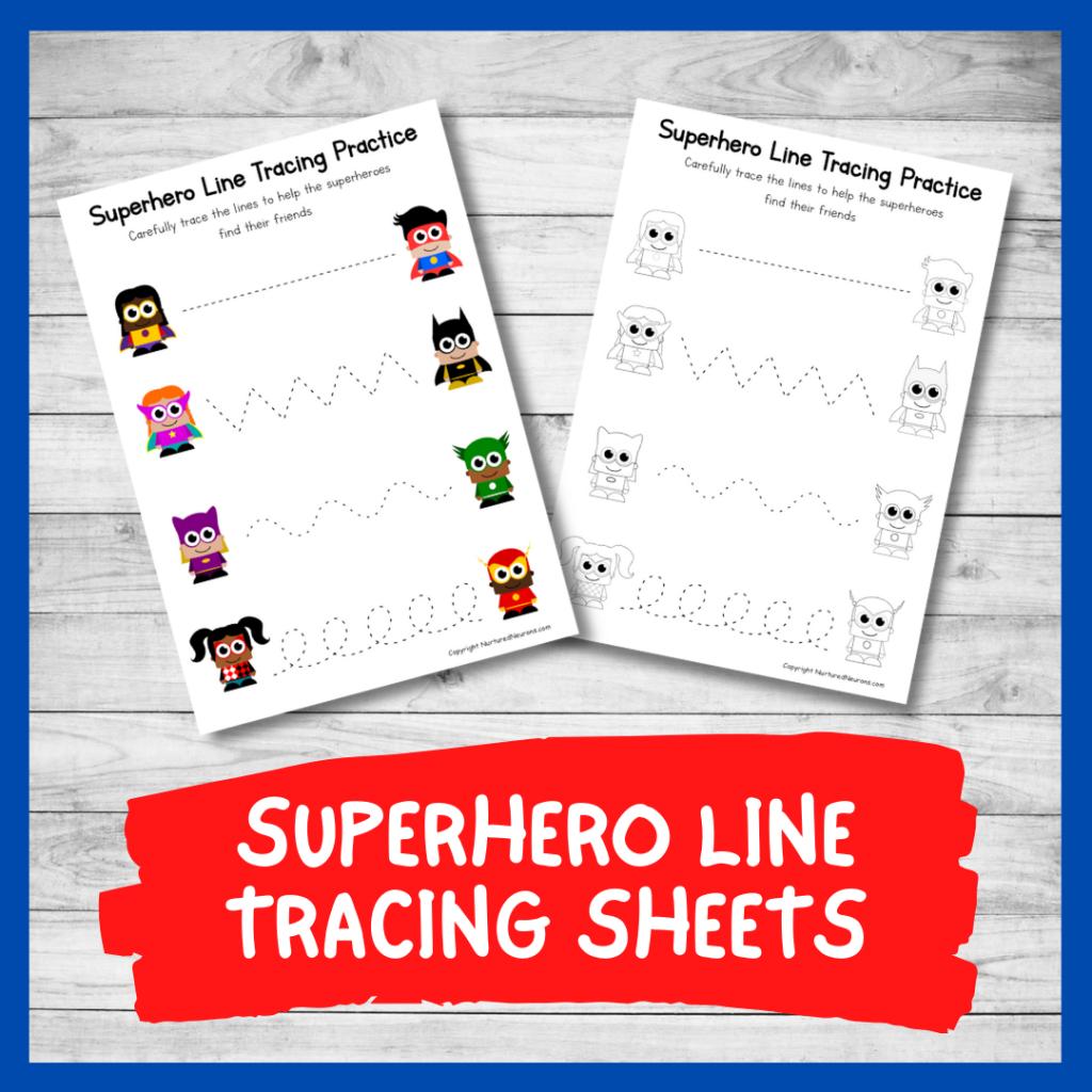 FREE PRINTABLE SUPERHERO LINE TRACING worksheets for preschool