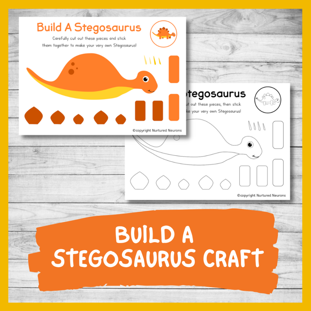PRINTABLE BUILD A stegosaurus CRAFT for preschool AND TODDLERS