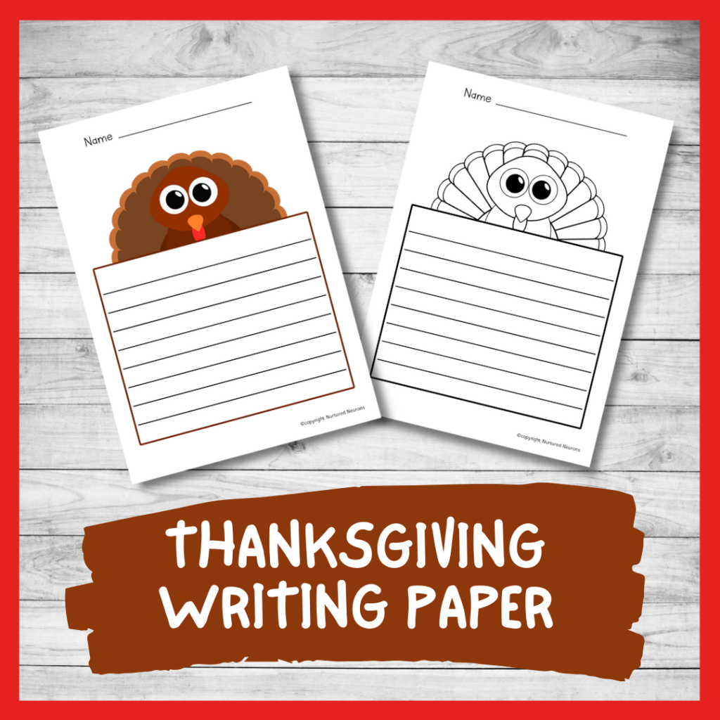 PRINTABLE THANKSGIVING WRITING PAPER (ELEMENTARY WRITING RESOURCE)