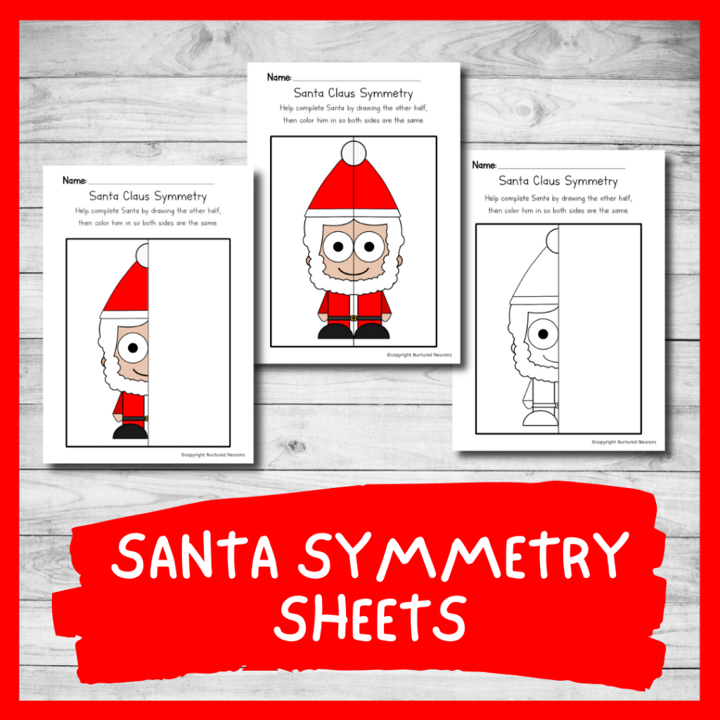 Santa symmetry worksheets - Christmas symmetry printable sheets