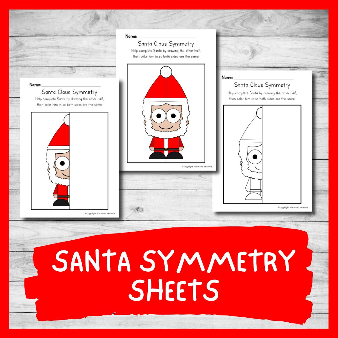 Santa symmetry worksheets - Christmas symmetry printable sheets
