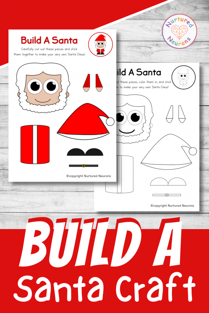 build a Santa craft printable for preschool and toddlers