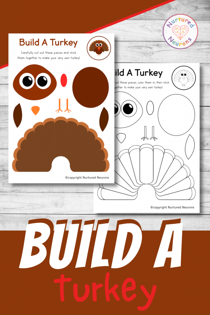 build a turkey printable craft for preschool and toddlers