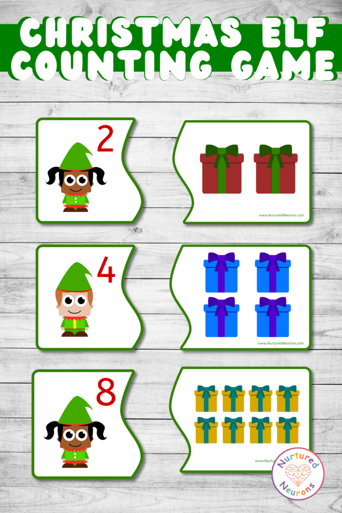 christmas elf counting and matching printable game