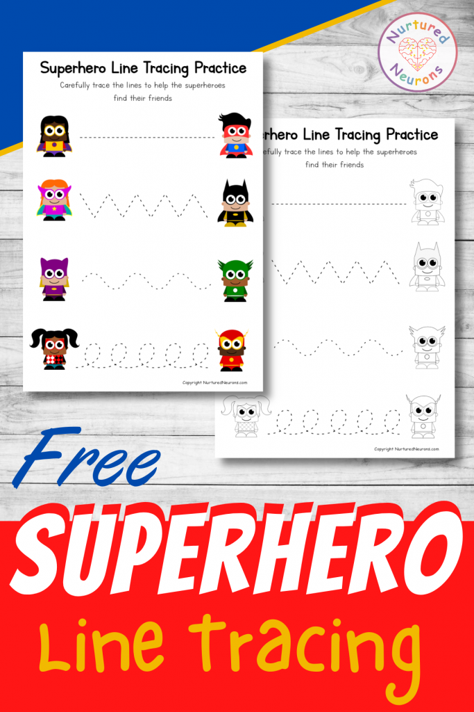 free Superhero line tracing worksheets printable for preschool and toddlers