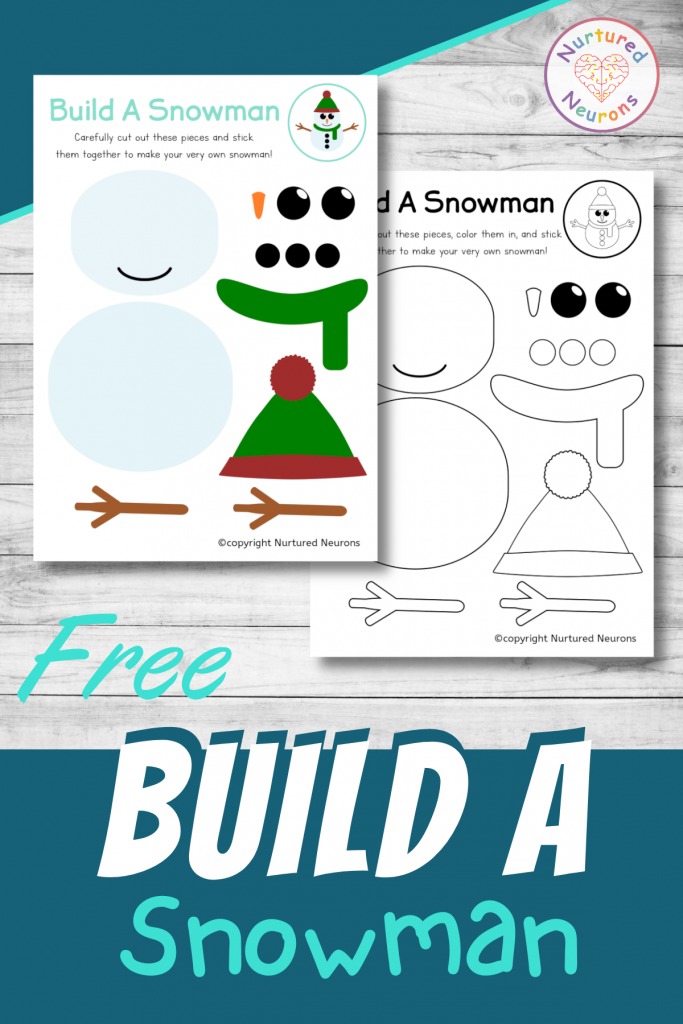 free build a snowman printable craft for preschool and toddlers