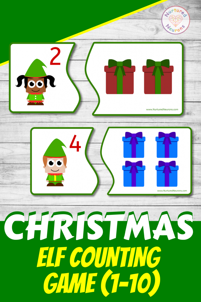 preschool Christmas Elf COUNTING GAME (preschool printable)