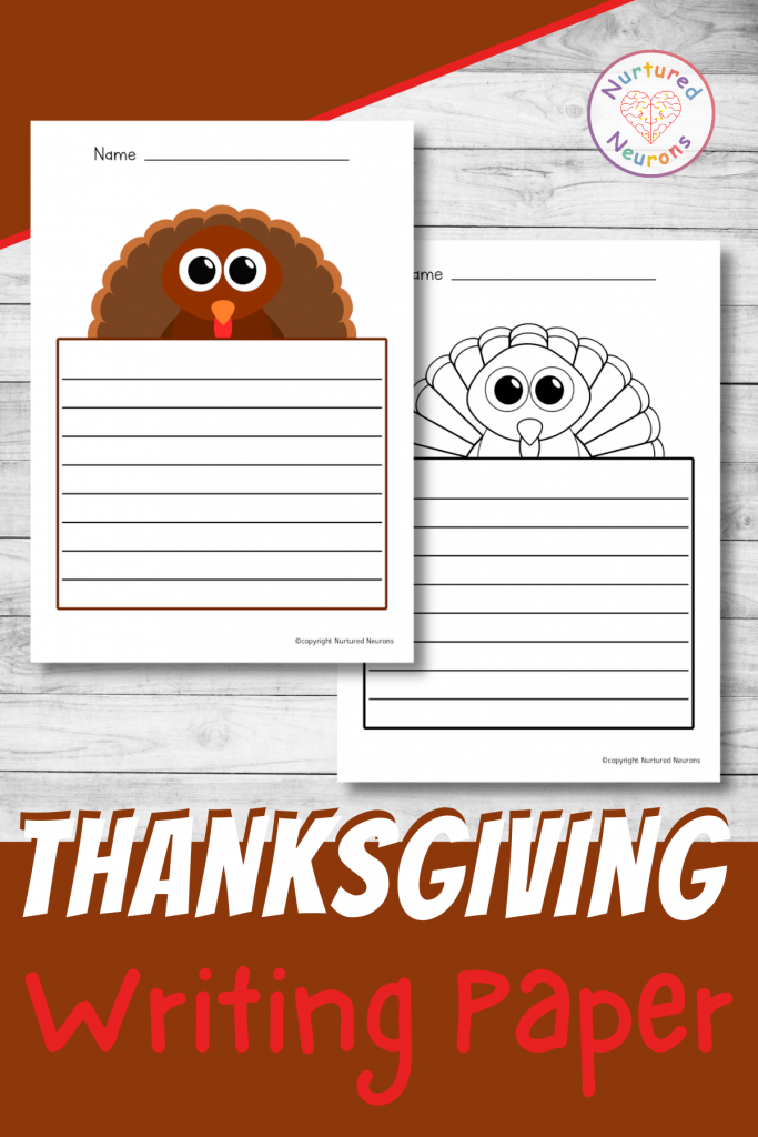 printable thanksgiving writing paper pack - turkey writing pages
