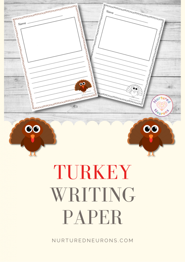 printable turkey writing paper - lined with picture box